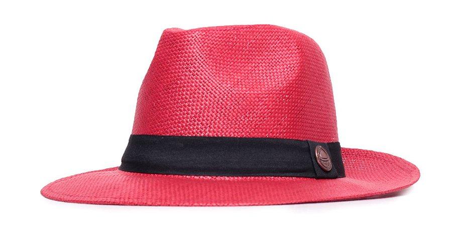 Chapéu Estilo Panamá Vermelho Aba Média 6,5cm Palha Faixa Clássica