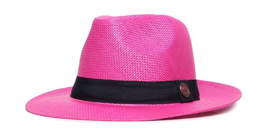 Chapéu Estilo Panamá Palha Rosa Aba Média 6,5cm Faixa Preta - Coleção Clássica