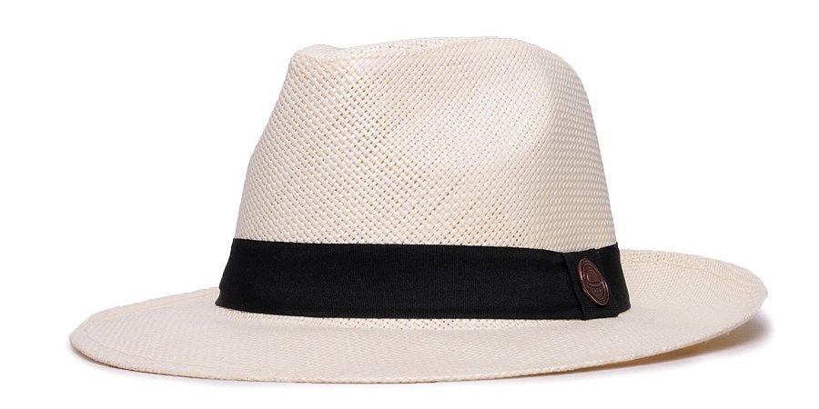 Chapéu Estilo Panamá Creme Aba Média 6,5cm Palha Faixa Clássica