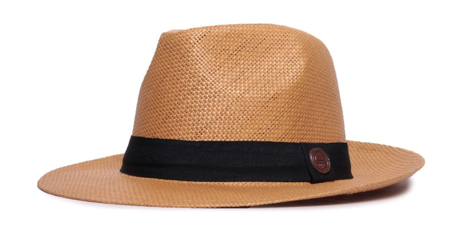Chapéu Estilo Panamá Caramelo Aba Média 6,5cm Palha Faixa Clássica
