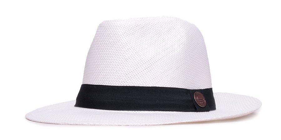 Chapéu Estilo Panamá Branco Aba Média 6,5cm Palha Faixa Clássica