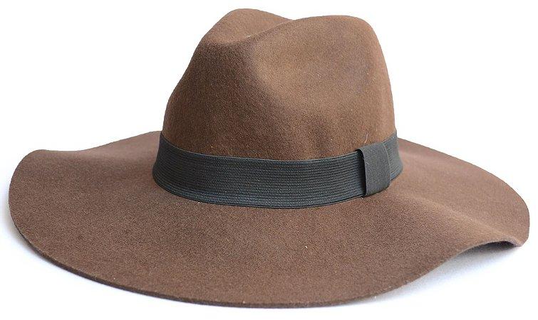 Chapéu Fedora Feltro Aba Grande 10cm Maleável Marrom