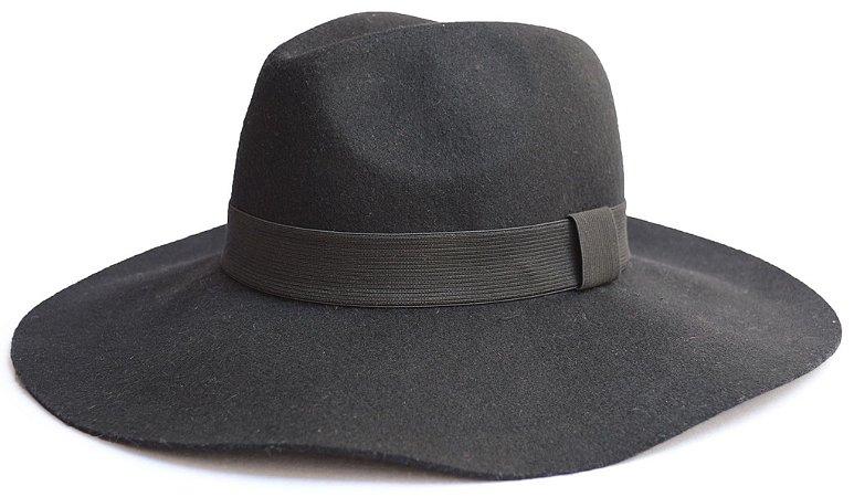 Chapéu Fedora Feltro Aba Grande 10cm Maleável Preto
