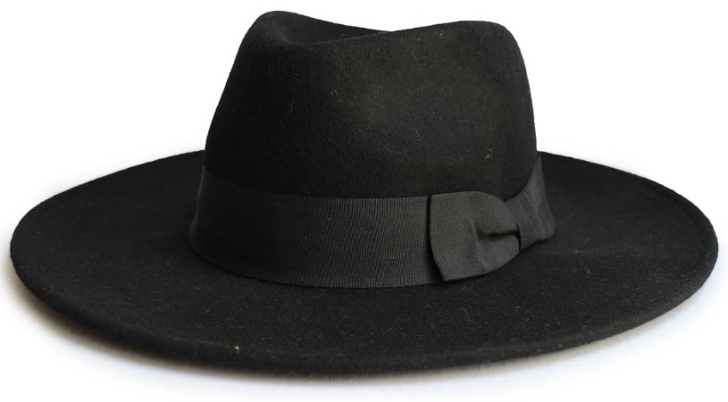 Chapéu Fedora Preto Aba Grande 8 cm 100% Lã