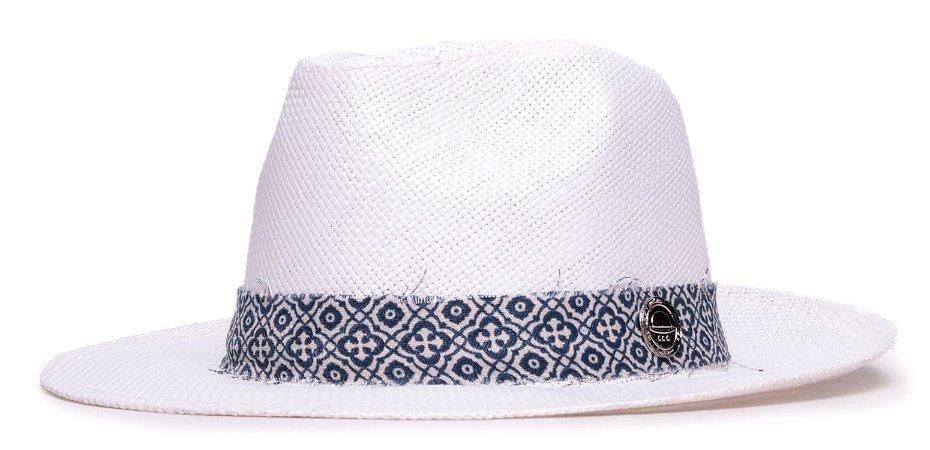 Chapéu Estilo Panamá Palha Branco Aba Média 6,5cm  Faixa Estampada XX - Coleção Ethnic