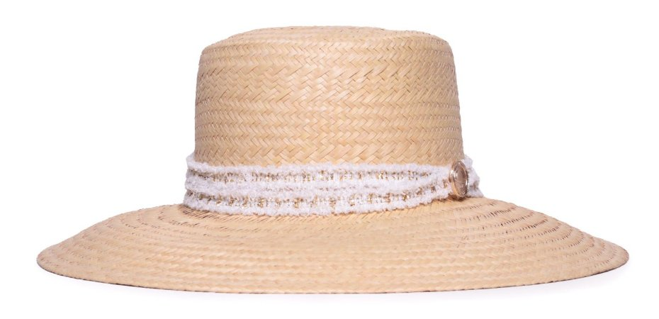 Chapéu Boater Palheta Aba Grande 10cm Palha Natural Faixa Fryed Fina Branca