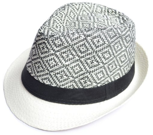 Chapéu de Palha Fedora Aba Curta Estampado Preto