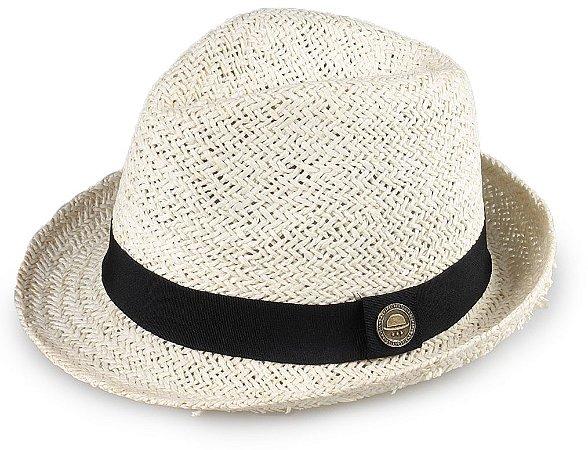 Chapéu Fedora Palha Creme Aba Média 5cm