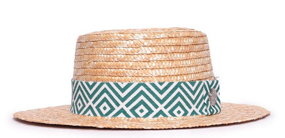 Chapéu Boater Palheta Aba Média Palha Dourada Faixa Verde e Branca Coleção Geométrica