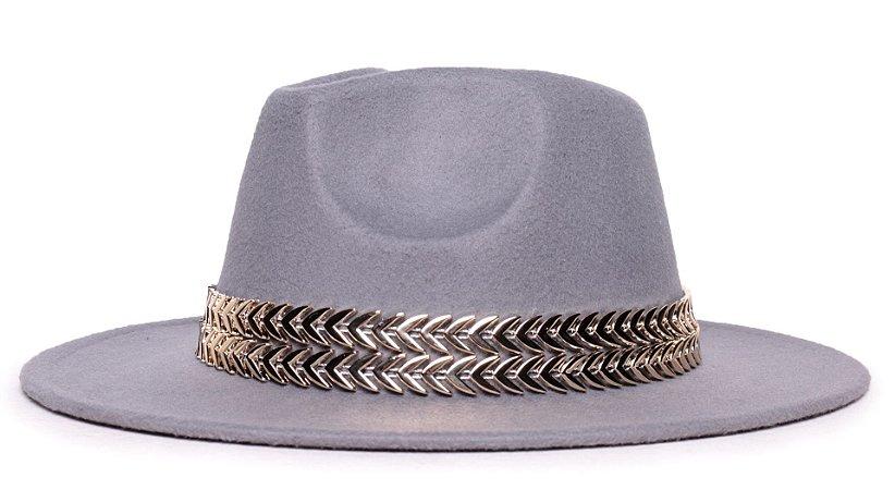 Chapéu Fedora Feltro Cinza Aba Média 7cm Faixa Double Dourada - Coleção Metalizada
