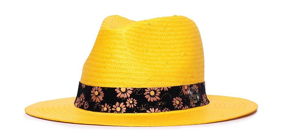 Chapéu Estilo Panamá Amarelo Aba 7cm Palha Shantung Faixa Flower Coleção Nobuck