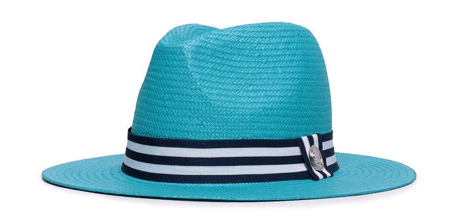 Chapéu Estilo Panamá Azul Aba 7cm Palha Shantung Faixa Azul Marinho e Branca Coleção Stripes