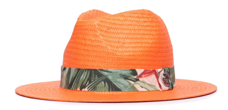 Chapéu Estilo Panamá Palha Shantung Laranja Aba média 7cm Faixa Estampada XV - Coleção Floral