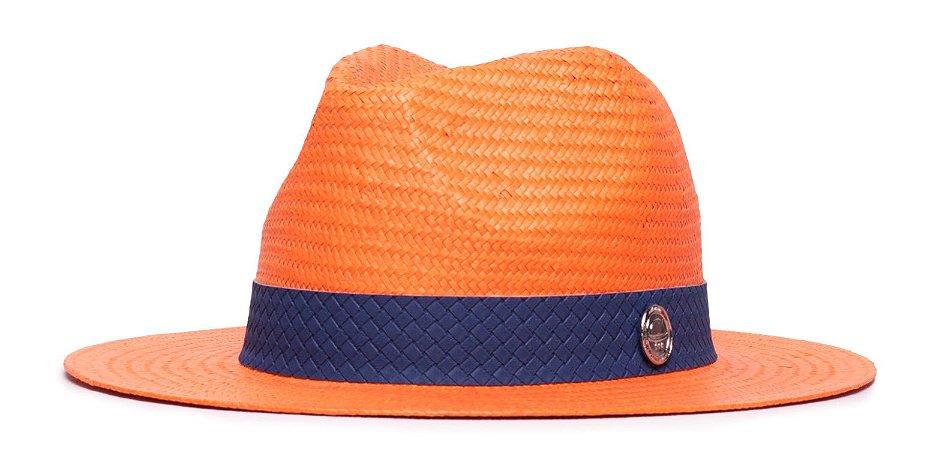 Chapéu Estilo Panamá Laranja Aba 7cm Palha Shantung Faixa Azul Marinho Coleção Macramê