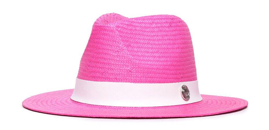 Chapéu Estilo Panamá Rosa Aba 7cm Palha Shantung Faixa Branca Coleção Couro