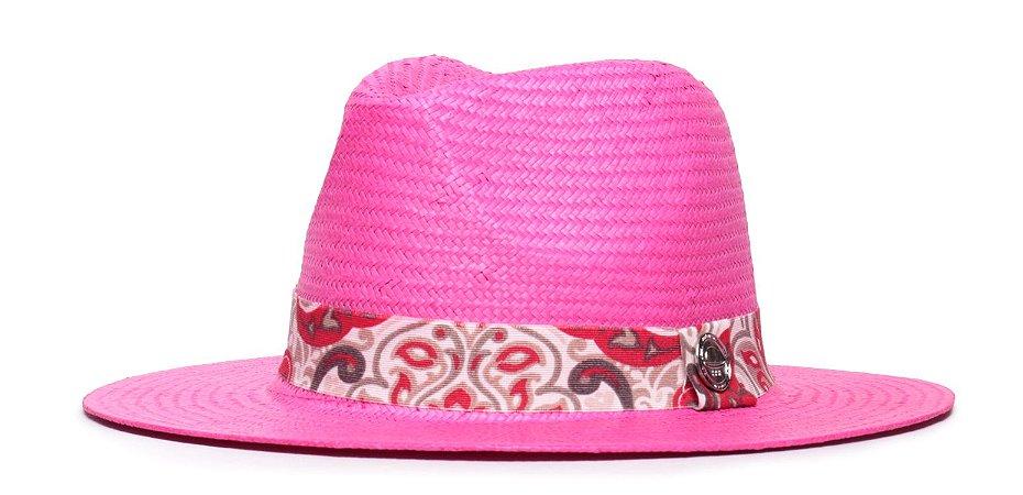 Chapéu Estilo Panamá Palha Shantung Rosa Aba Média 7cm  Faixa Estampada XII - Coleção Floral