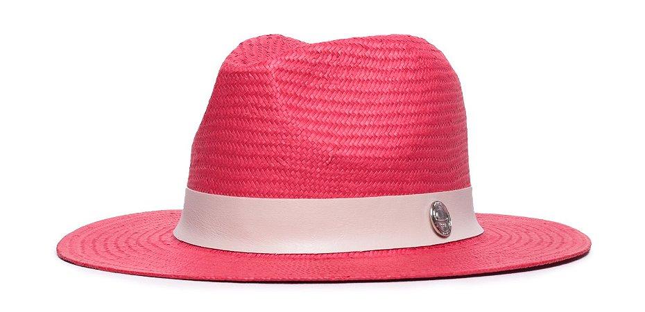 Chapéu Estilo Panamá Vermelho Aba 7cm Palha Shantung Faixa Creme Coleção Couro