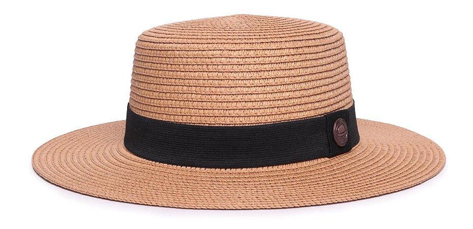 Chapéu Palheta Caramelo Aba Maleável 7cm Palha Classico