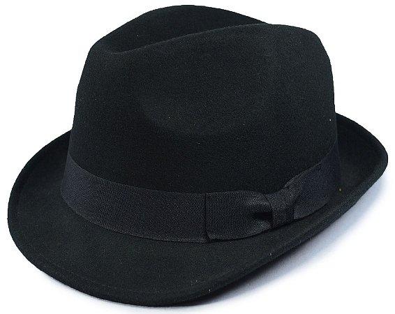 Chapéu Fedora Feltro Preto Aba Curta 5cm 100% Lã