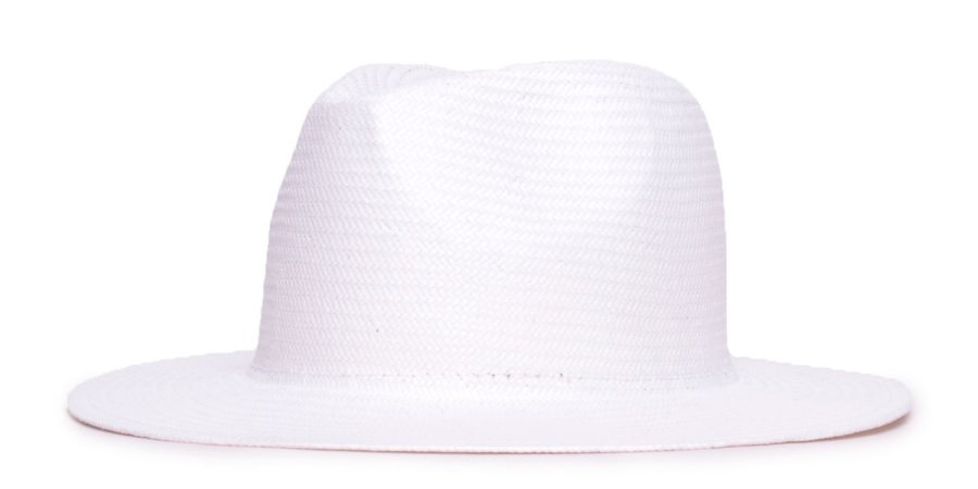Chapéu Estilo Panamá Branco Aba 7cm Palha Shantung LISO