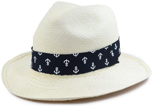 Chapéu Panamá Aba Média Faixa Preta Customizada de Âncora