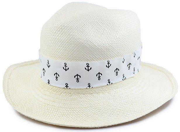 Chapéu Panamá Aba Média Faixa Branca Customizada de Âncora