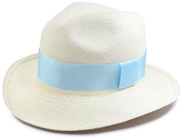 Chapéu Panamá Aba Média Faixa Azul Clara Customizada