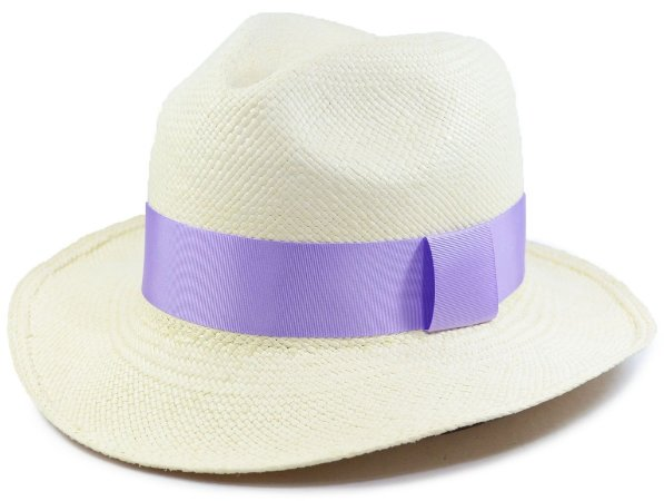 Chapéu Panamá Aba Média Faixa Lilás Customizada