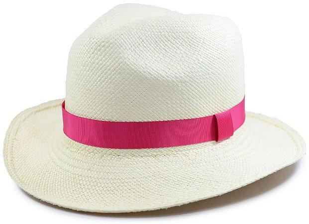 Chapéu Panamá Aba Média Faixa Rosa Pink Fina Customizada
