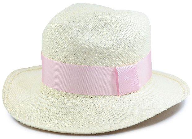 Chapéu Panamá Aba Média Faixa Rosa Bebê Customizada