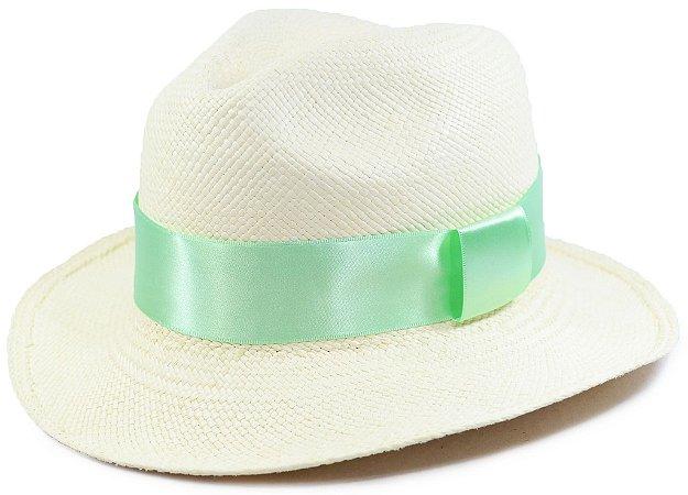 Chapéu Panamá Aba Média Faixa Verde Customizada