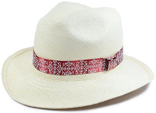 Chapéu Panamá Aba Média Faixa Vermelha Fina com Detalhes Customizada