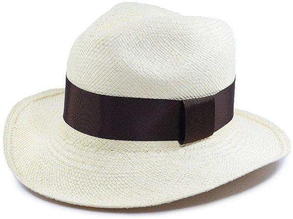 Chapéu Panamá Aba Média Faixa Marrom Customizada