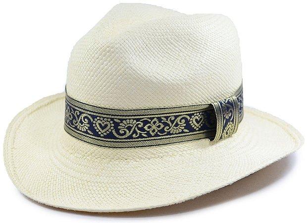 Chapéu Panamá Aba Média Faixa Azul e Desenhos Dourados Customizada