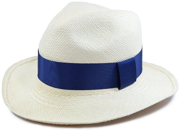 Chapéu Panamá Aba Média Faixa Azul Marinho Gorgurão