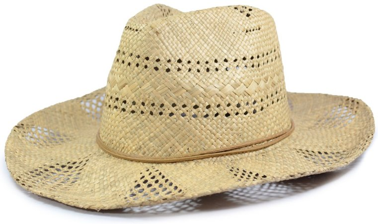Chapéu Fedora Palha Sintética Bege Vazado