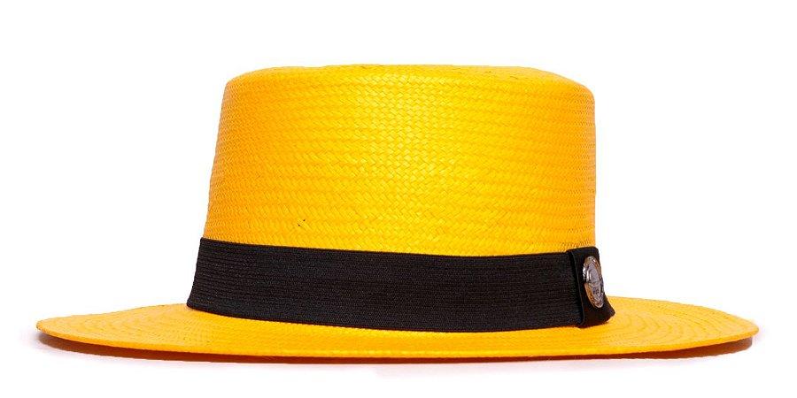 Chapéu Palheta Amarelo Aba Média 7cm Palha Shantung Clássico