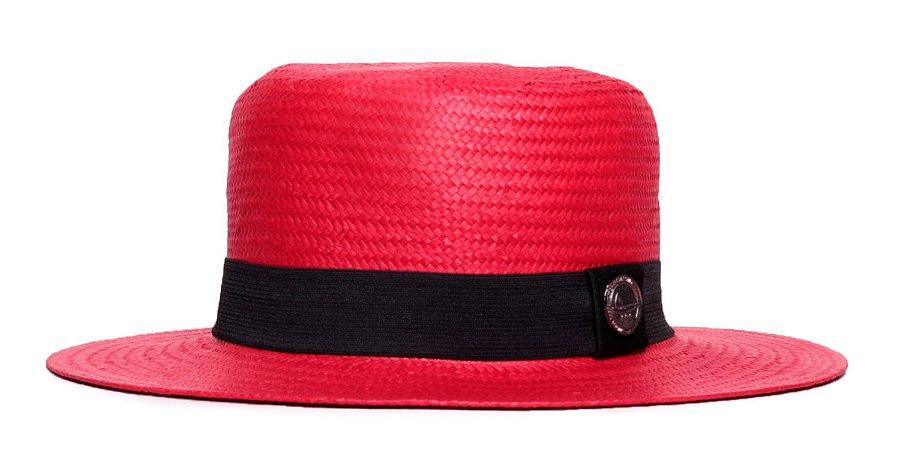 Chapéu Palheta Vermelho Aba Média 7cm Palha Shantung Clássico