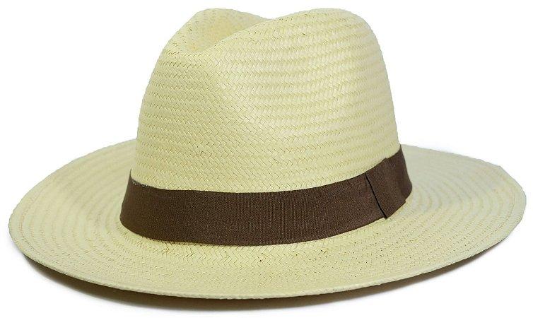 Chapéu Fedora Estilo Panamá Palha Bege Shantung Faixa Marrom