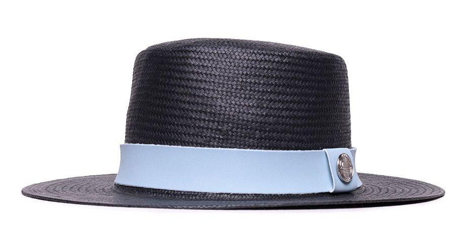 Chapéu Palheta Preto Aba Média 7cm Palha Shantung  Faixa Azul Claro Coleção Suede