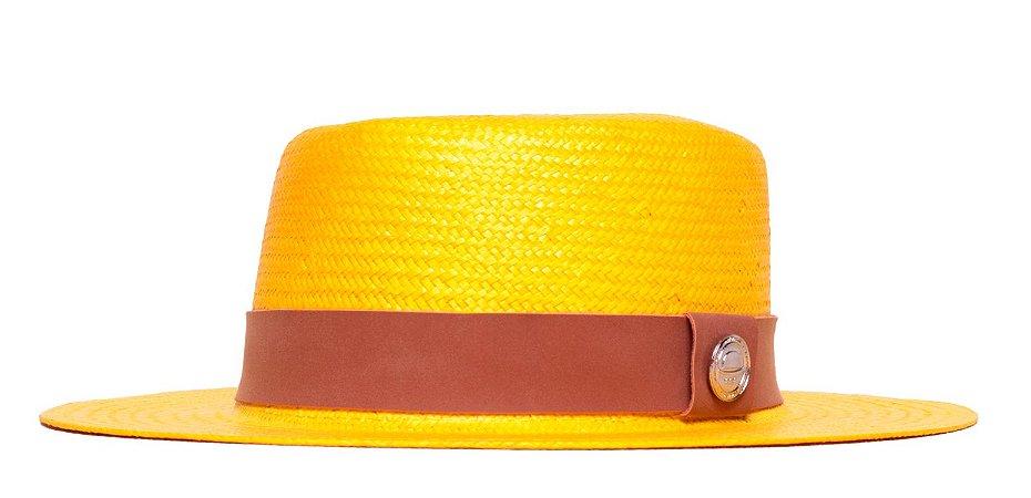 Chapéu Palheta Amarelo Aba Média 7cm Palha Shantung  Faixa Vinho Coleção Suede