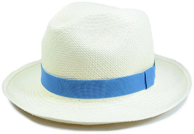 Chapéu Panamá Aba Média Faixa Azul Customizada