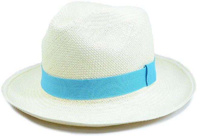Chapéu Panamá Aba Média Faixa Azul Celeste Customizada
