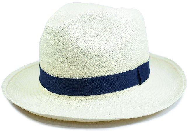 Chapéu Panamá Aba Média Faixa Azul Marinho Customizada