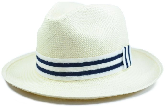 Chapéu Panamá Aba Média Faixa Listrada Branca e Azul Marinho Customizada