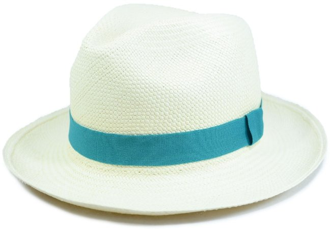 Chapéu Panamá Aba Média Faixa Verde-Água Customizada