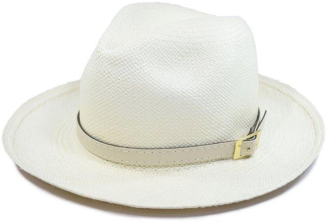Chapéu Panamá Aba Média Faixa de Cinto Couro Bege Customizada