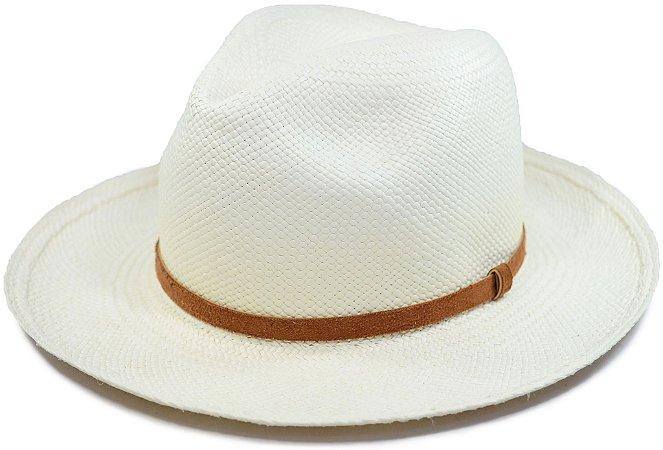 Chapéu Panamá Aba Média Faixa Couro Fino Marrom Customizada