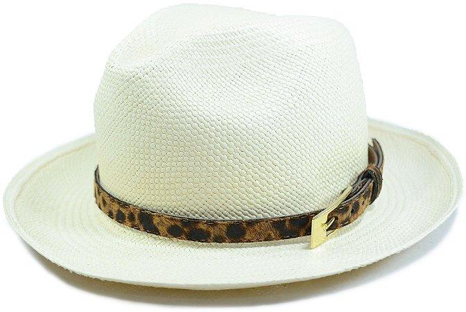Chapéu Panamá Aba Média Faixa Cinto de Couro de Onça Customizada