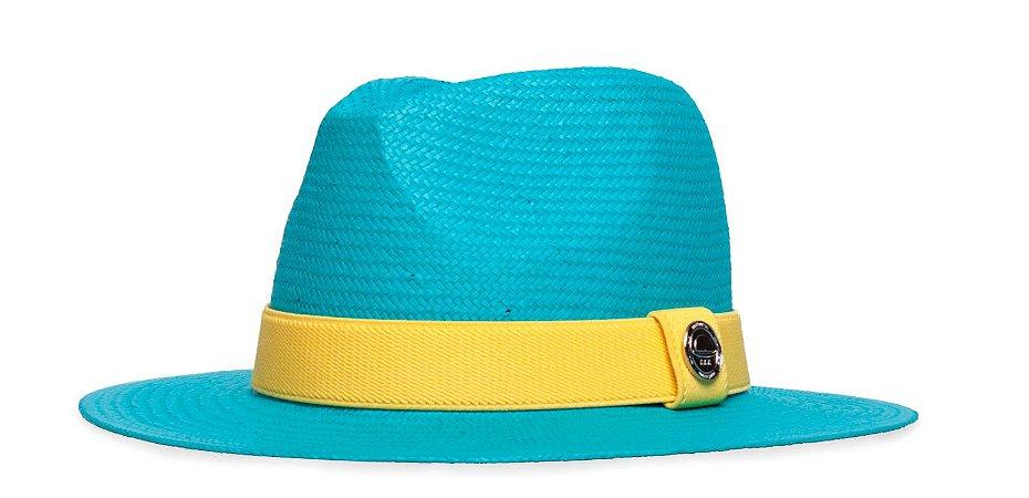 Chapéu Estilo Panamá Azul Aba 7cm Palha Shantung Coleção Elástica